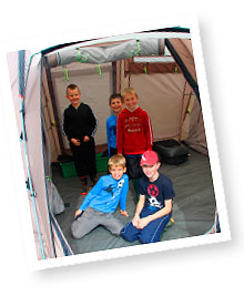 Boys in a tent